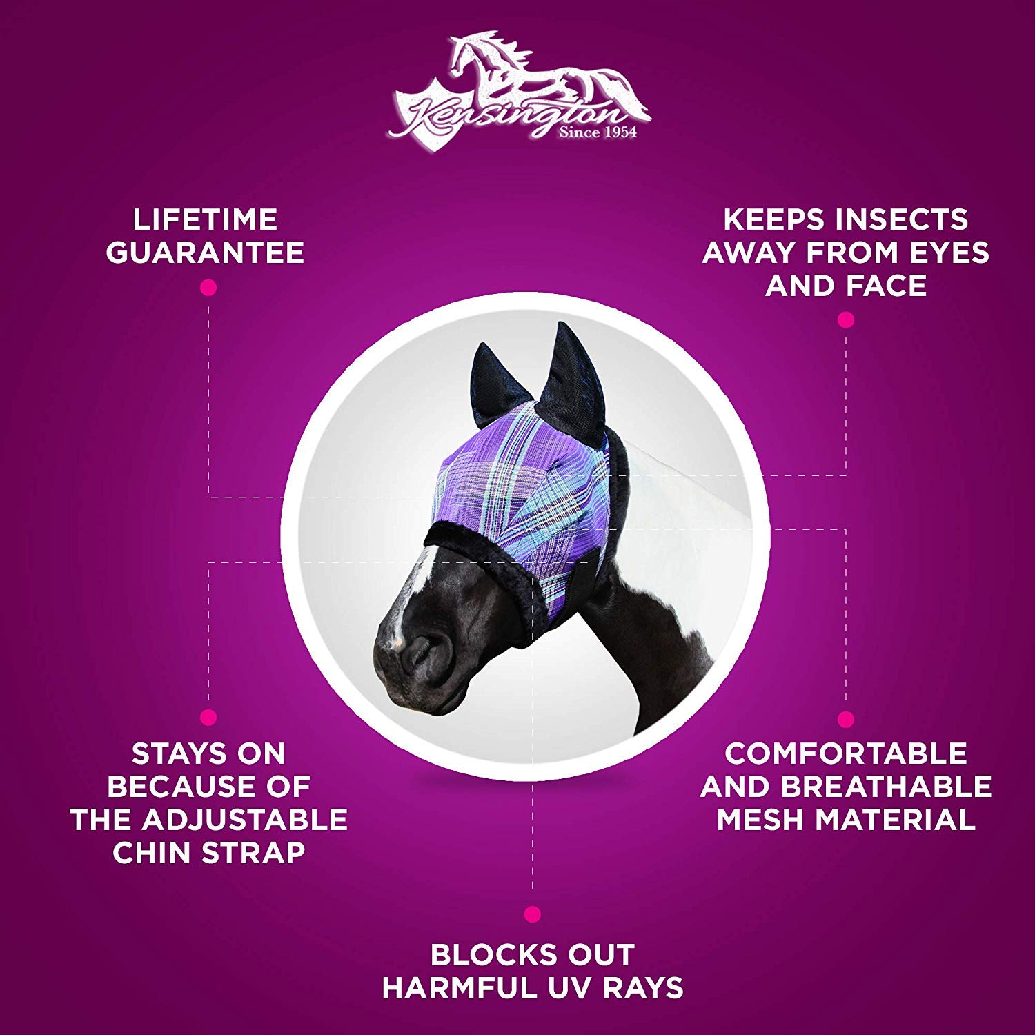 Kensington Fly Mask with Fleece Trim and Soft Ears — Allows Full Visibility with Maximum Protection  — Features Original Double Locking System — UV Protection with Comfortable Fleece Trim by Kensington Protective Products (Image #3)