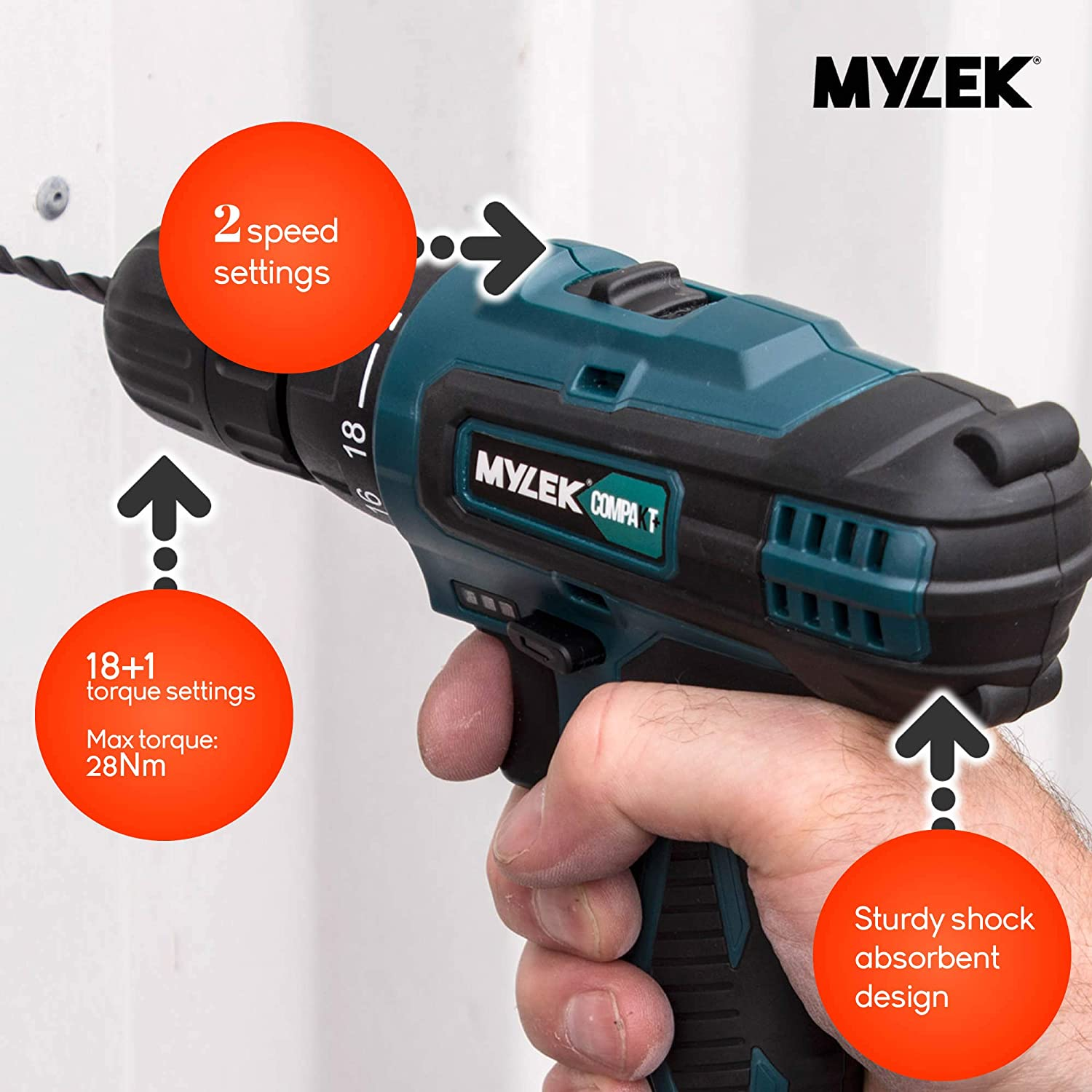 Carry Case with 13 Piece Accessory Kit Variable Speed /& Quick Stop Function. 1300 mAh Li-Ion battery with 1 Hour Quick Charge 2 Speed with LED Work Light MYLEK 18V Cordless Drill Driver