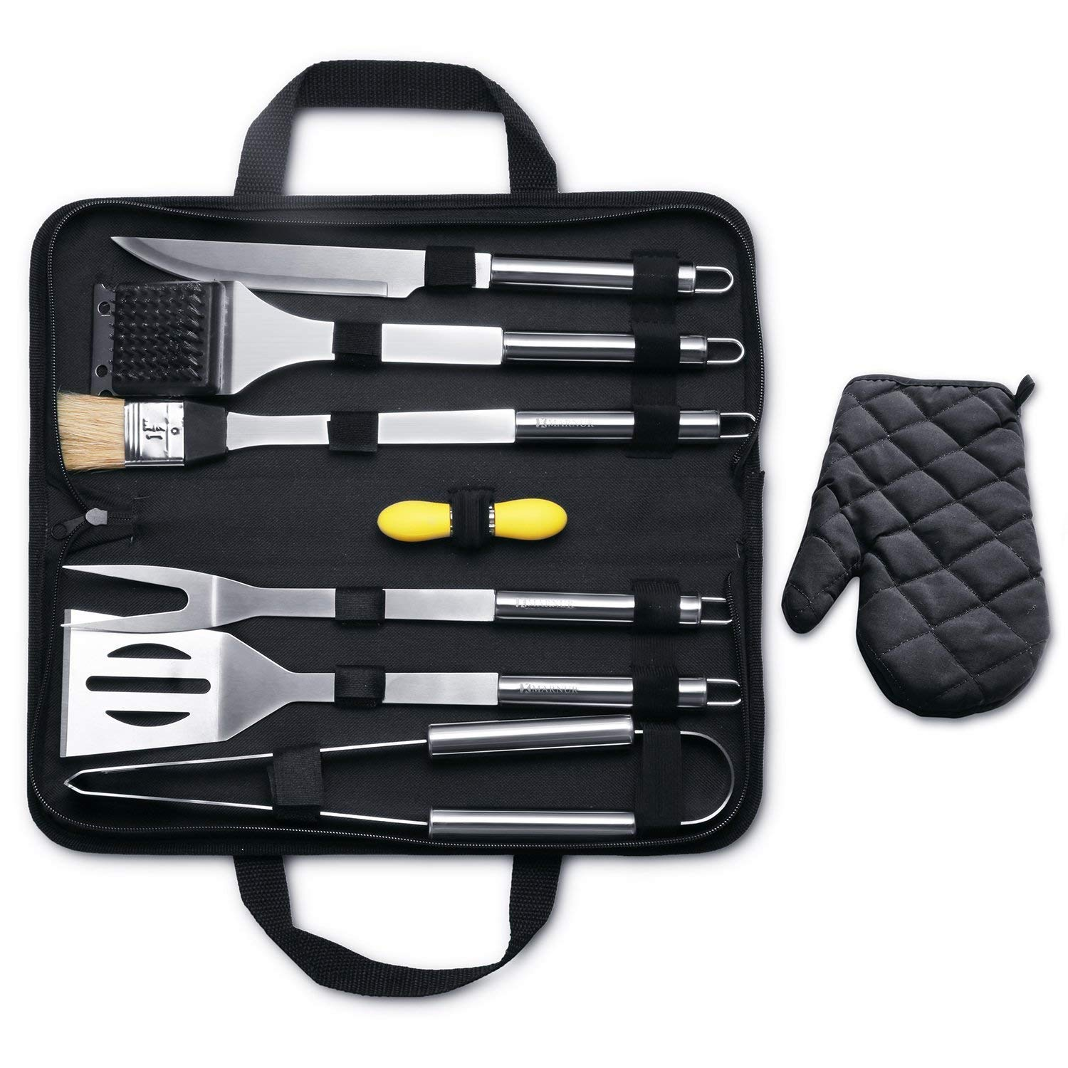 MARNUR BBQ Barbecue Set Tools Kit Tool with 7 Barbecue Accessories for Grilling Camping Picnic Spatula
