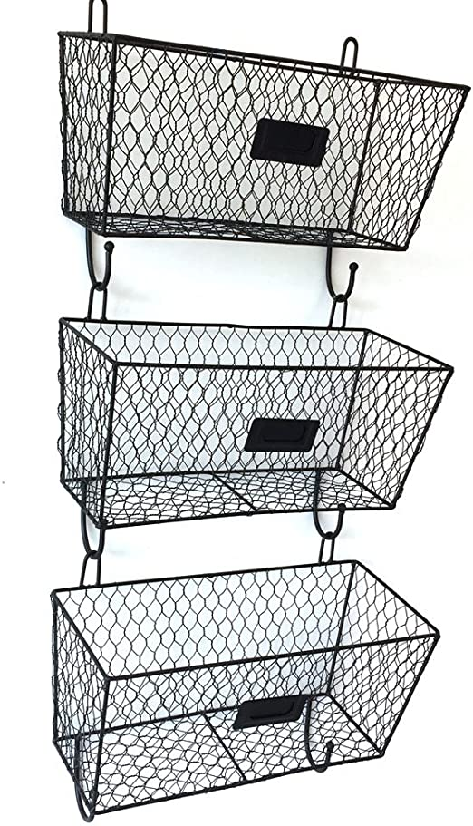 Amazon Com Helloland 3 Tier Wall Hanging Metal Wire Organizer Baskets Entryway Mail Sorter Black
