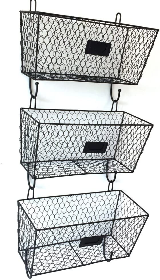 Amazon Com Helloland 3 Tier Wall Hanging Metal Wire Organizer Baskets Entryway Mail Sorter Black