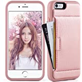 iphone 6 Plus Wallet case, ZVE 2nd Gen iphone 6 Plus Case Slim with Wallet Credit Card Holder Slot for Apple iphone 6 / 6S Plus 5.5 inch (Rose Gold)