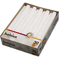 BOLSIUS Long Household White Taper Candles - 10-inch Unscented Premium Quality Wax - 7.5 Hour Long Burning Dripless Candles Bulk Pack of 30 for Home Decor, Wedding, Parties and Special Occasions