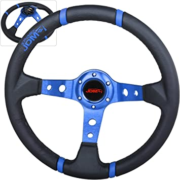 350MM Genuine Leather 6 Hole Steering Wheel Deep Dish Black Blue /& Black Emblem