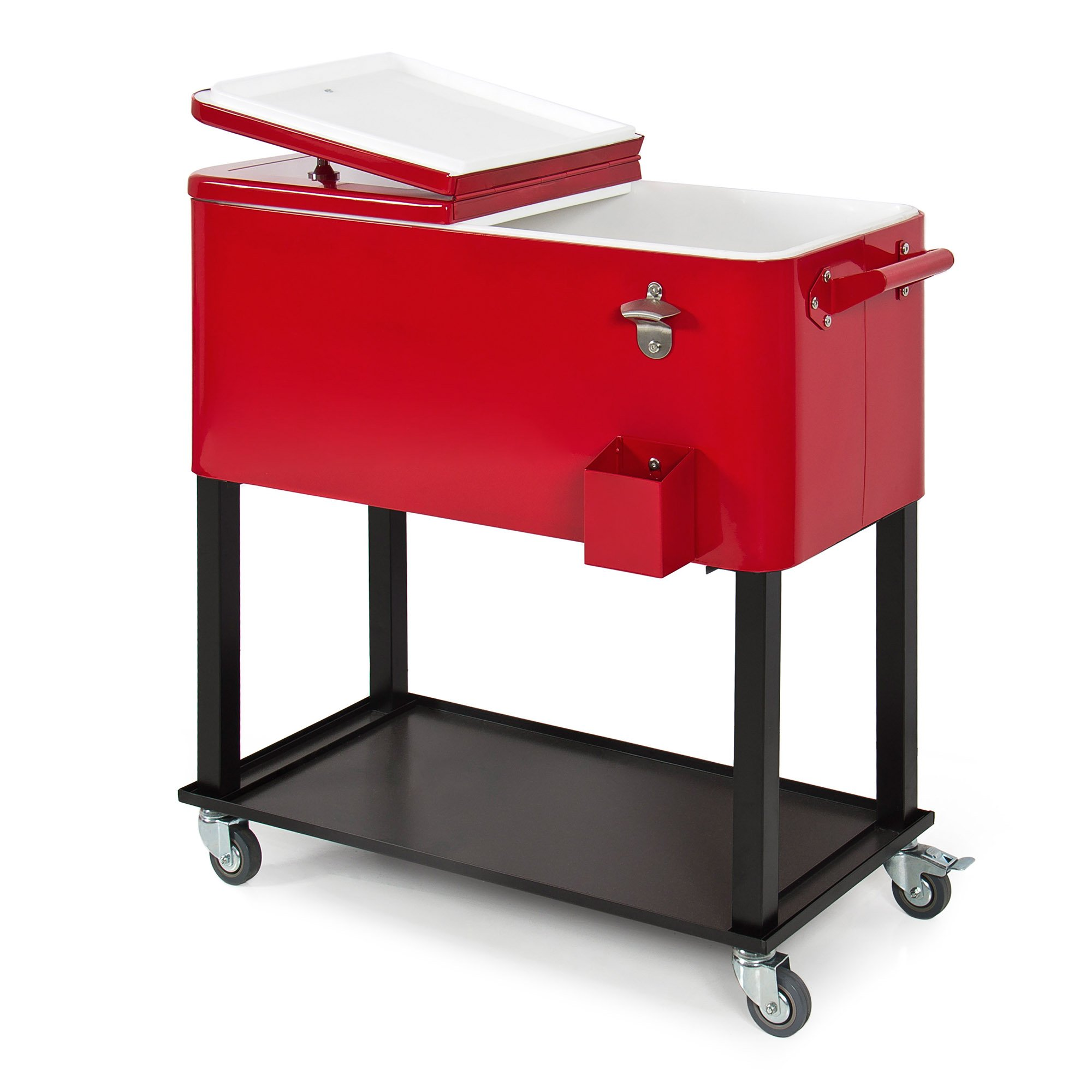 Best Choice Products 80-Quart Steel Outdoor Rolling Cooler Cart w/ Bottle Opener and Catch Tray, Drain Plug, Locking Wheels by Best Choice Products