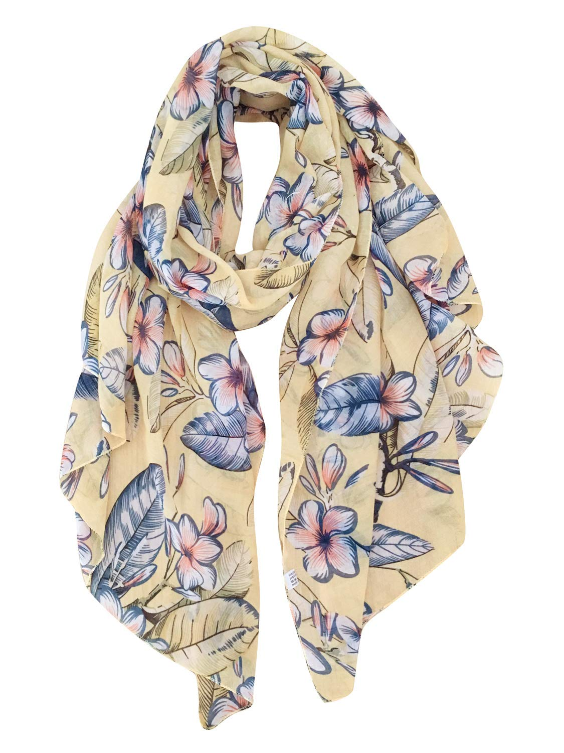 GERINLY Scarves for Women Florals Print Long Head Wraps Summer Thin Scarf (Yellow)