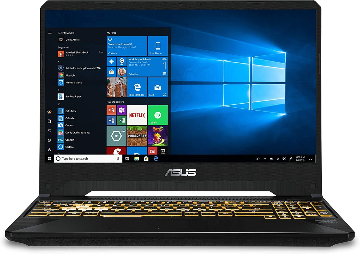 "2020 Asus TUF 15.6"" FHD VR Ready Gaming Laptop Computer/ Intel Hexa-Core i7-8750H up to 4.10GHz/ 16GB DDR4 RAM/ 1TB HDD/ NVIDIA GeForce GTX 1050 4GB/ Backlit Keyboard/ Windows 10/ SPMOR Mouse Pad"