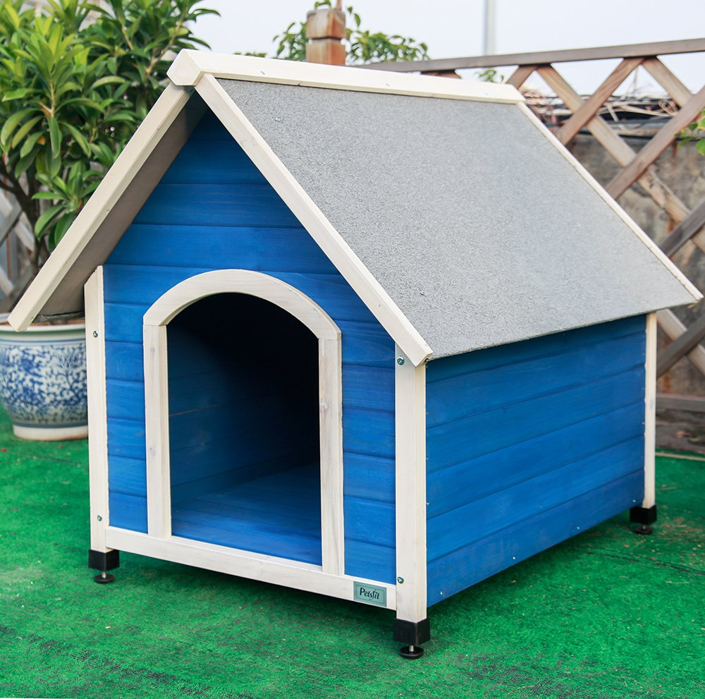 Petsfit großer hölzerner Hundezwinger mit justierbarer Fußmatte, Farbe blau, 98cm x 67cm x 87cm