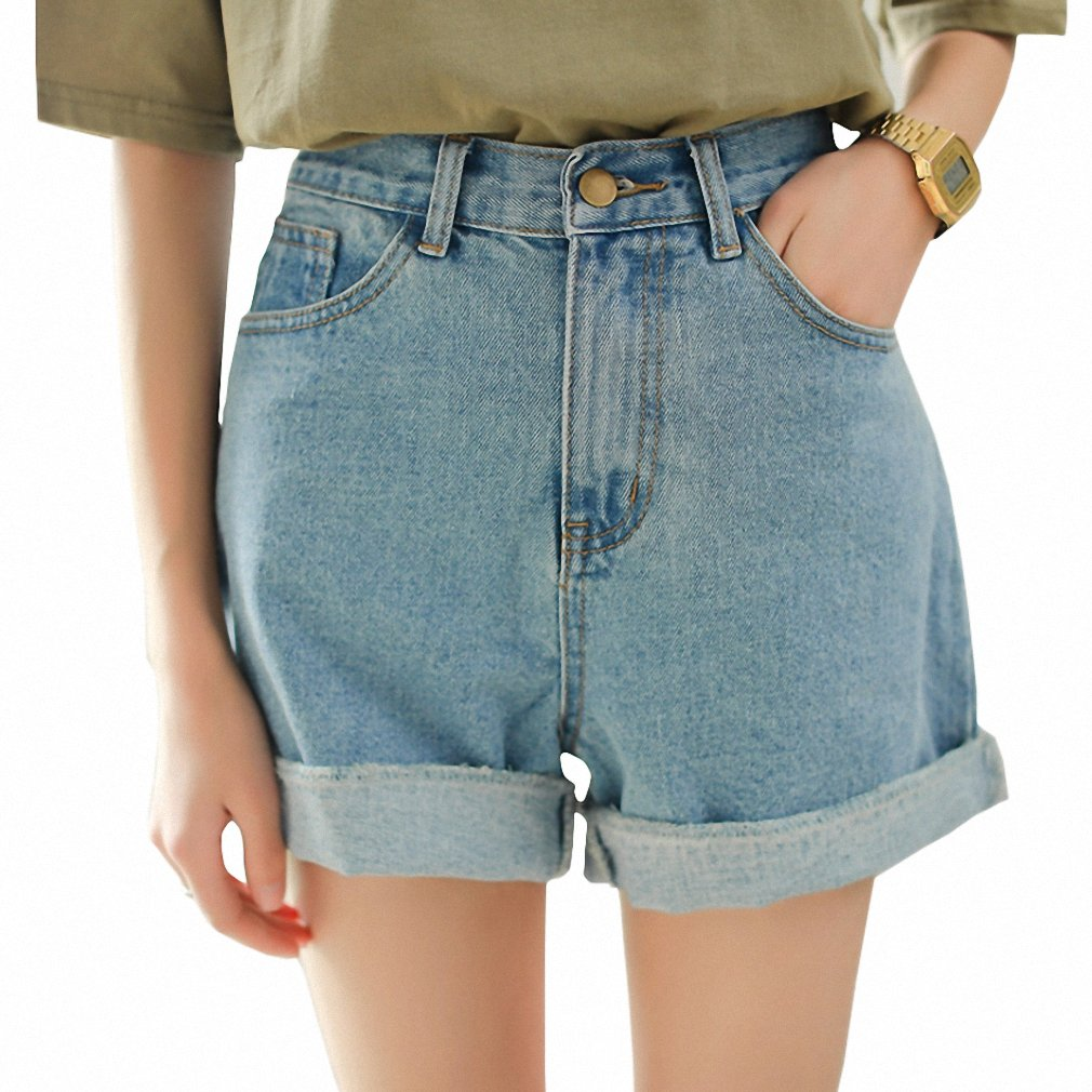 NEW New Spring Summer Women Denim Shorts Korean Style High Waist Roll Up Loose Jeans Shorts Casual Hot Shorts as picture L