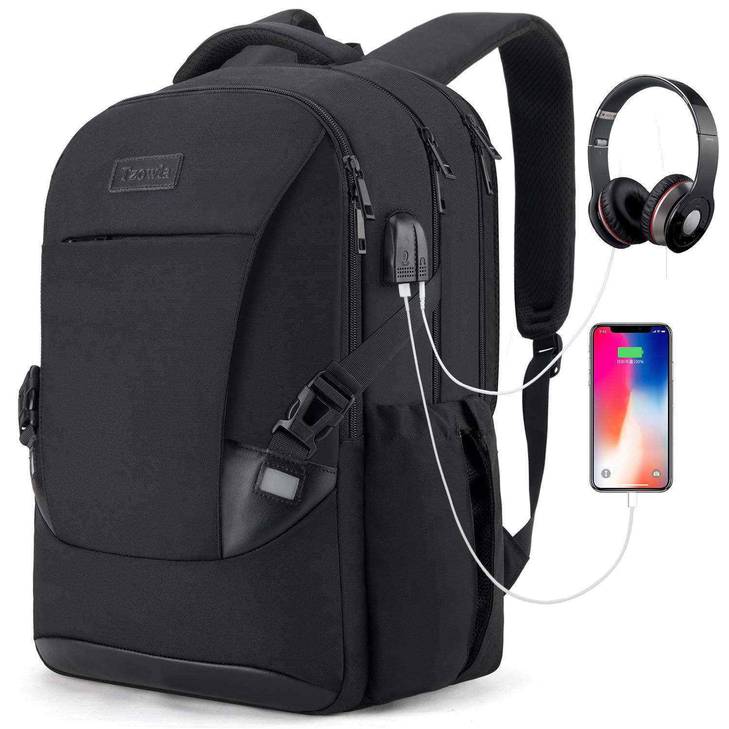 Tzowla Travel Laptop Backpack Waterproof Business Work School College Bag Daypack with USB Charging&Headphone Port for Men Women Boy Girl Student Durable Luggage Backpacks Fit 15.6/17Inch(Black)