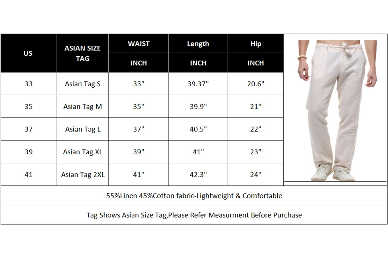 sandbank Men's Drawstring Casual Beach Pants Straight Leg Linen Summer Pants (Black, US 33) by sandbank (Image #3)
