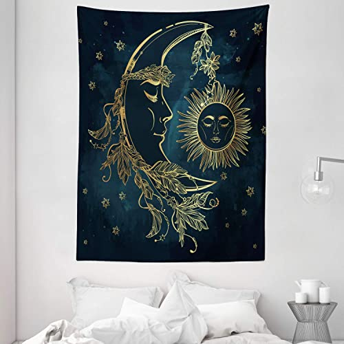 Ambesonne Psychedelic Tapestry, Crescent Moon with Boho Feathers Alchemy Magic Egyptian Myth Design, Wall Hanging for Bedroom Living Room Dorm, 60 X 80 , Petrol Blue