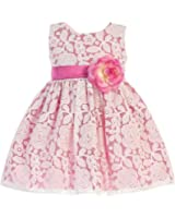 Swea Pea & Lilli Baby Girls Fuchsia Floral Tulle Adorned Easter Dress 6-24M