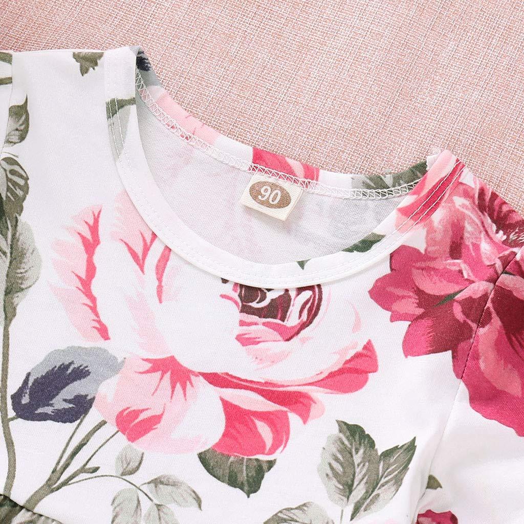 Robemon❤️B/éb/é Filles Floral Crop Tops+Fashion Orifice Denim Pantalons Jean Toddler Kids V/êtements de Tout-Petit Ensembles de Filles