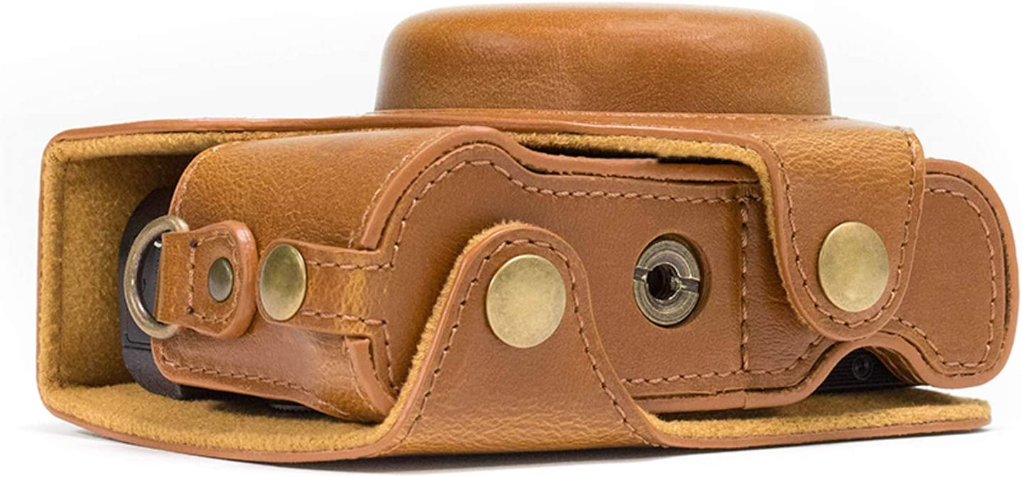 MegaGear MG977 Canon PowerShot G7 X Mark II Leather Bags /& Cases Light Brown