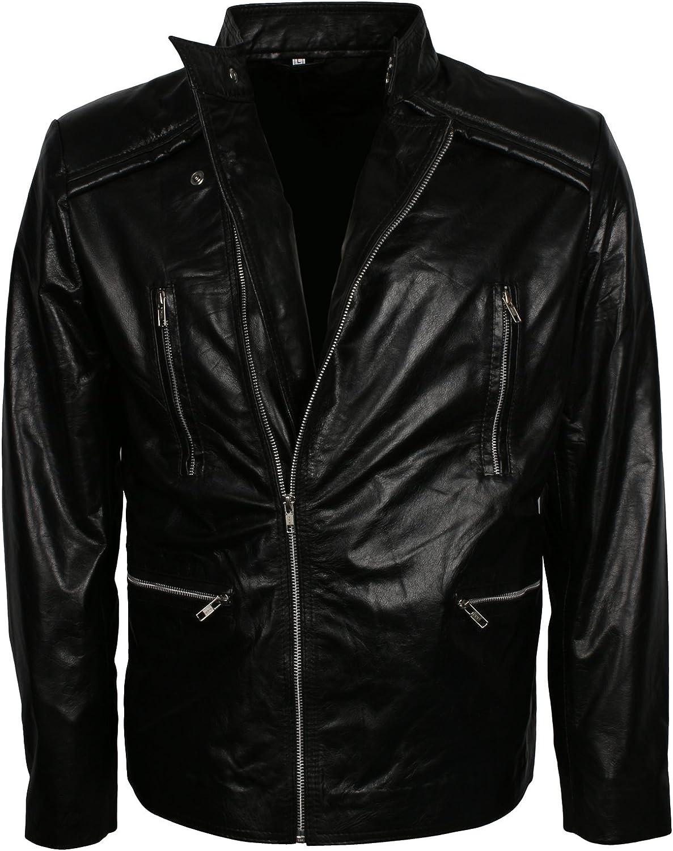 Men/'s Real Lambskin Motorcycle Designer Jacket in Black