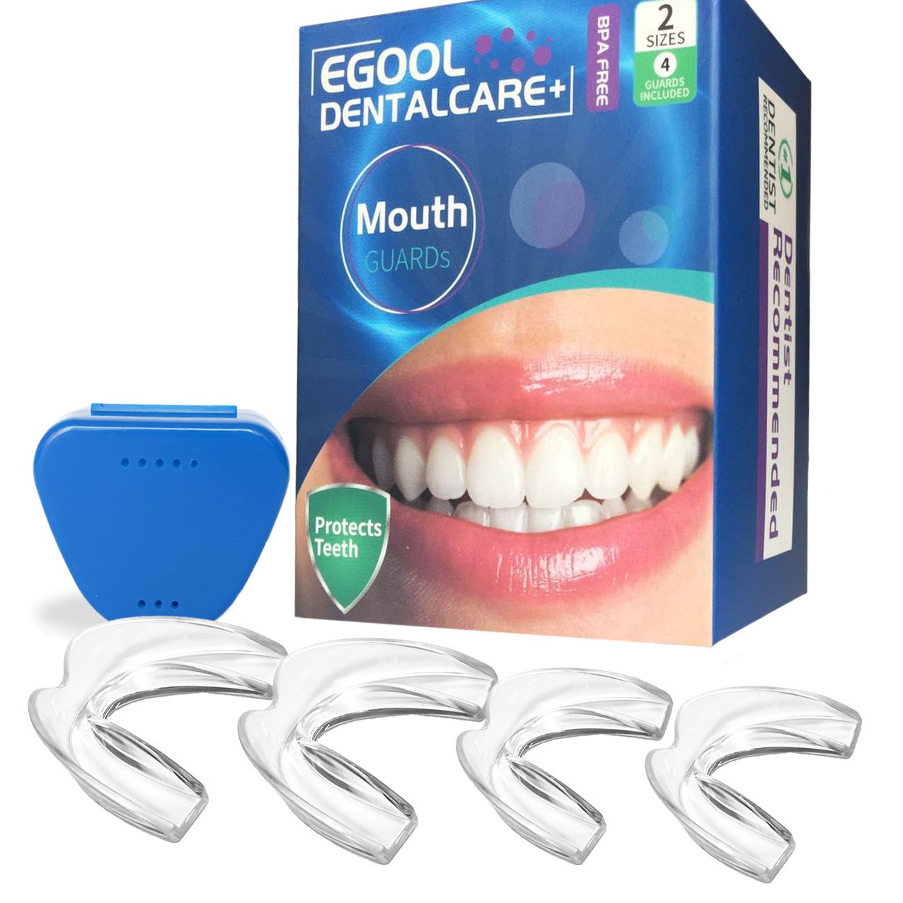 Egool Mouth Guard, Professional Dental Night Guard, Mouth Guard For Grinding Teeth -Stops Teeth Grinding, Bruxism, Clenching, Anti-Bacterial Container, BPA-Free, 4 Teeth Guards (2 Sizes)