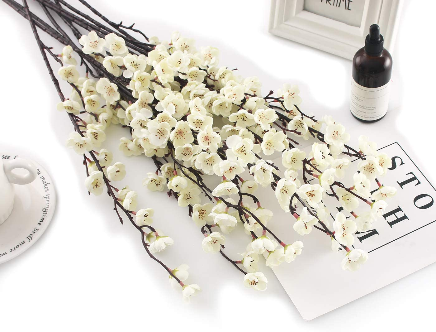 Charmly 5 Pcs Artificial Plum Blossom Fake Wintersweet Long Stem Plastic Flowers Home Hotel Office Wedding Party Garden Decor 27.5'' High White