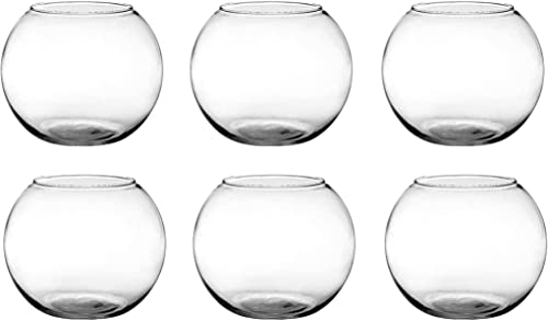 Floral Supply Online – Rose Bowls Set of 6 and Flower Guide Booklet – Glass Round Vases for Weddings, Events, Decorating, Arrangements, Flowers, Office, or Home Decor.