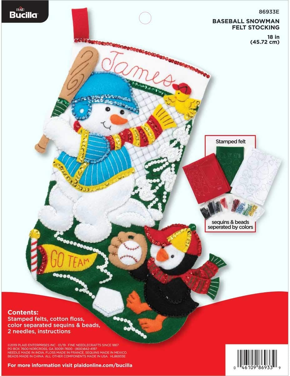 Bucilla Baseball Snowman Felt Applique Kit
