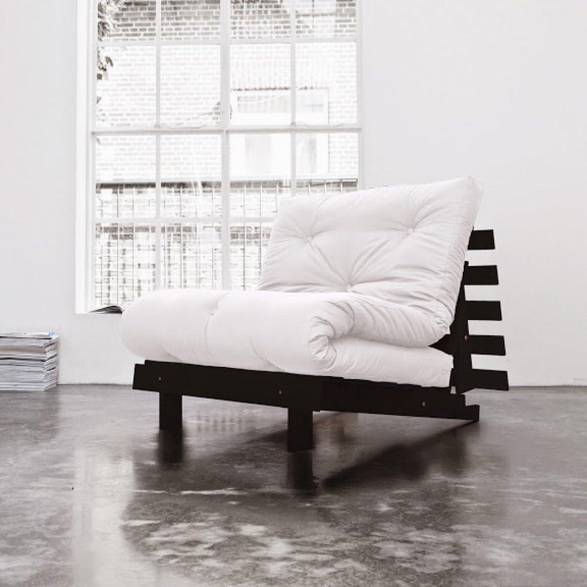 Pack Colchón futón Ecru algodón estructura de madera color wengué, algodón, 140 x 200: Amazon.es: Hogar
