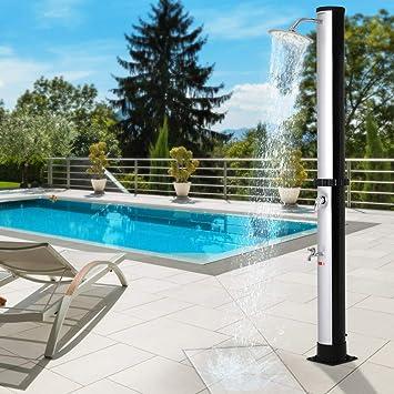 60/°C pl/ástico resistente a los rayos UV color Negro Plata de jard/ín piscina camping Monzana Ducha solar de 35 Litros m/áx
