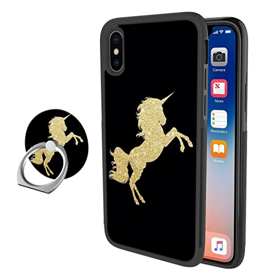 reputable site 675d8 eaf4d Amazon.com: iPhone X Case, Gold Unicorn iPhone X iPhone 10 Case with ...