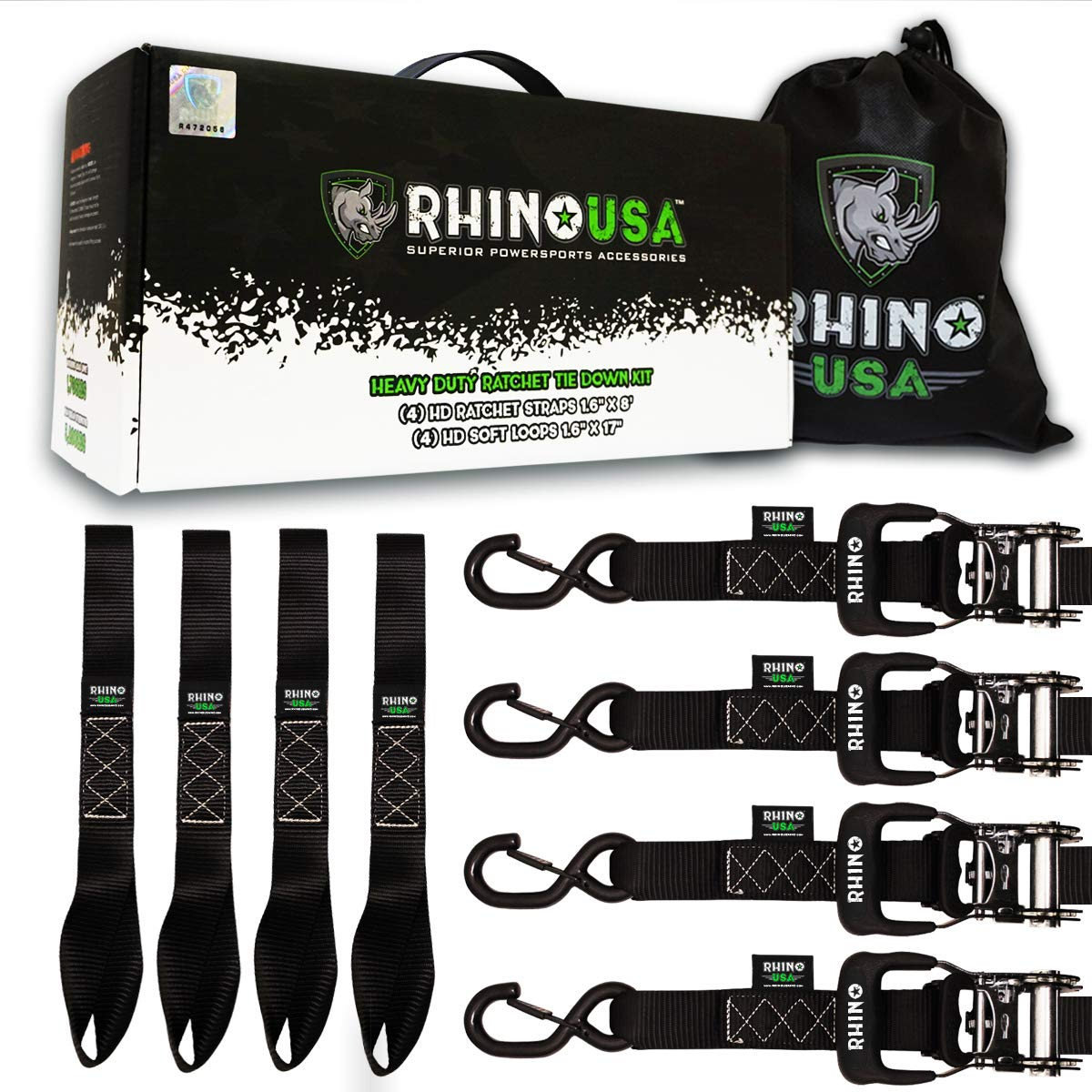 "RHINO USA Ratchet Straps Motorcycle Tie Down Kit, 5,208 Break Strength - (4) Heavy Duty 1.6"" x 8' Rachet Tiedowns with Padded Handles & Coated Chromoly S Hooks + (4) Soft Loop Tie-Downs (BLACK)"