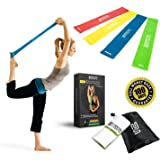 Superior Resistance Bands - Set of 4 Exercise Fitness Loops - Suitable for Men and Women - Ideal for Mobility Yoga Pilates Or Physical Therapy - Bonus Workout Videos Online, Instructions & Carry Bag