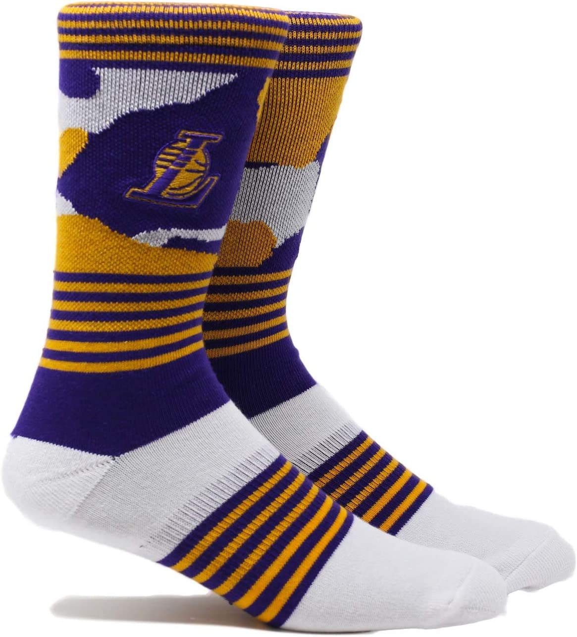 Several Teams Available PKWY NBA Stripe Crew Socks - Size Large Fits 6-12 Orlando Magic Blue