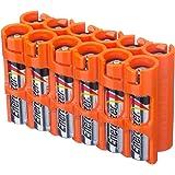 Powerpax Storacell SlimLine AAA 6 件装电池盒,橙色 Holds 12 Batteries AAA12pkORG