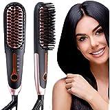 Hair Straightening Brush 3.0, Buture Travel Hair Straightener Brush Negative ion Ceramic Iron Hair Brush Fast Heat Hot Brush Mini Size Anti-scald MCH 110-240V Auto Off Temperature Lock (Black)