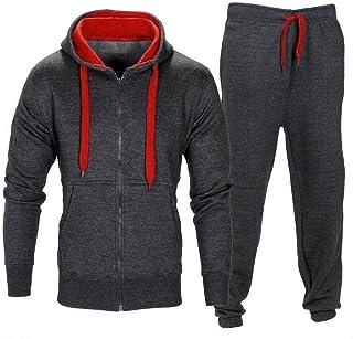 DERSS85 Pantaloni Stretch da Uomo Pantaloni da Giacca Coat con Cappuccio Set da Allenamento Sportivo da Jogging