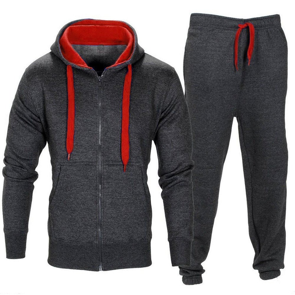 Mens Coat Sweatpants Set, Stretchy Trousers Hooded Coat Jacket Pants Jogging Sports Tracksuit