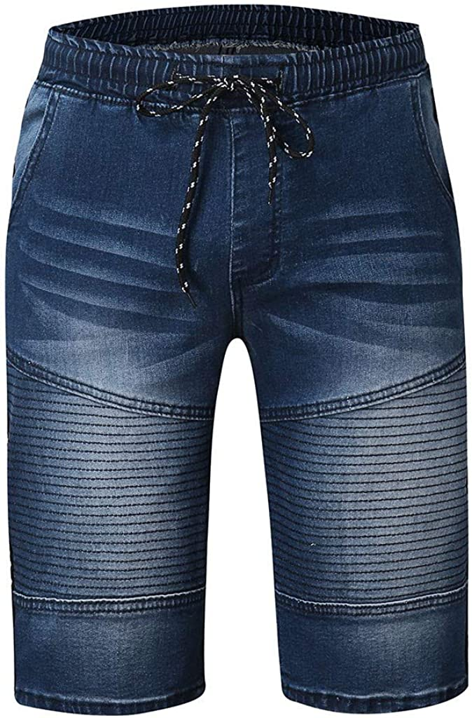 Denim Jeans Forthery Men's Stretchy Shorts Casual Wrinkle Fit Drawstring Destroyed Taped Slim Fit Denim Pants(Blue,XL=31)