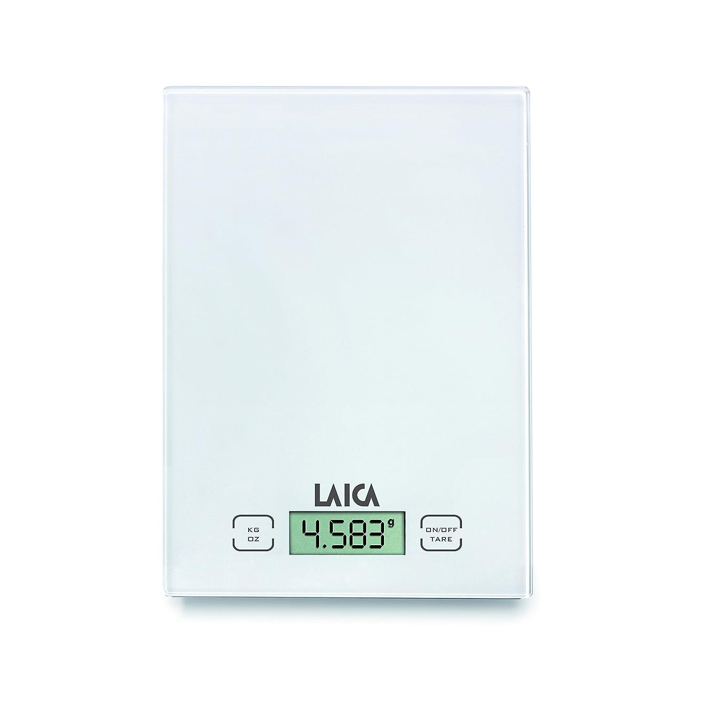 Display Led Rossi Tasti Touch Sensor Colore Bianco 5 kg Vetro Temperato Laica KS1601 Bilancia da Cucina Elettronica