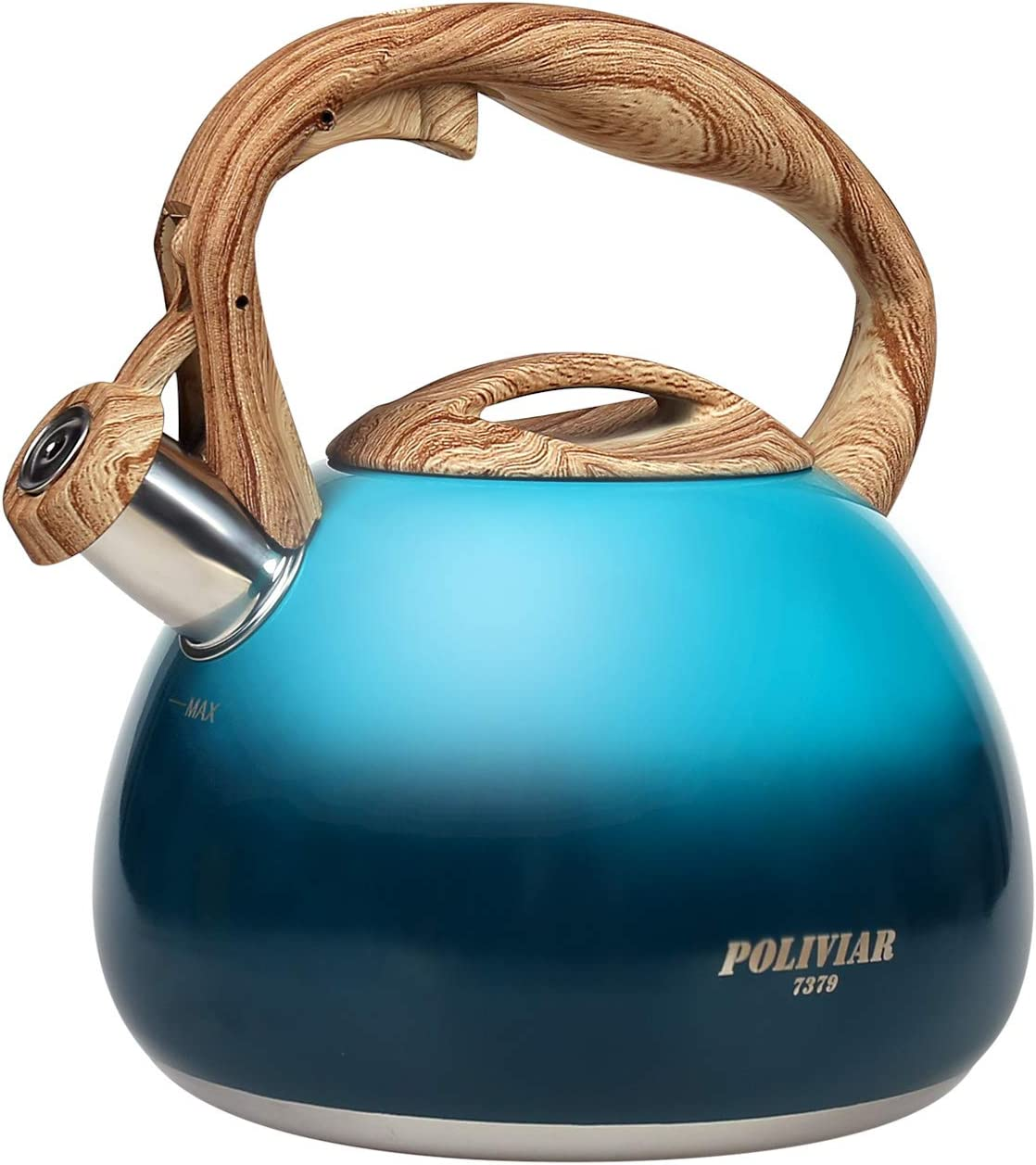 POLIVIAR Tea Kettle, Aqua Blue Tea Pot Stovetop, 2.7 Quart Loud Whistling Coffee and Teapot, Food Grade Stainless Steel for Anti-Hot Handle and No-Rust, Suitable for All Heat Sources (JX2018-DB20)