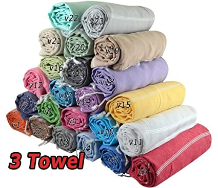 Venta Juego de 3 XL toallas de algodón turco, Peshtemal, Hamam toalla wrap Pareo