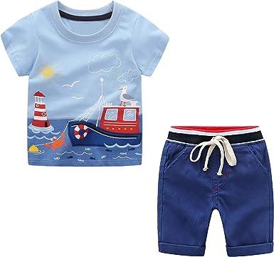 Yilaku Conjunto Niño Verano Camiseta + Pantalones Juego de 2 Piezas con Estampado de Coche: Amazon.es: Ropa y accesorios