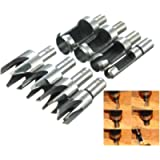 REAMTOP 8 pcs Carpentry Wood Plug Cutter Straight & Tapered Claw Type Drill Bit Cutter Sets