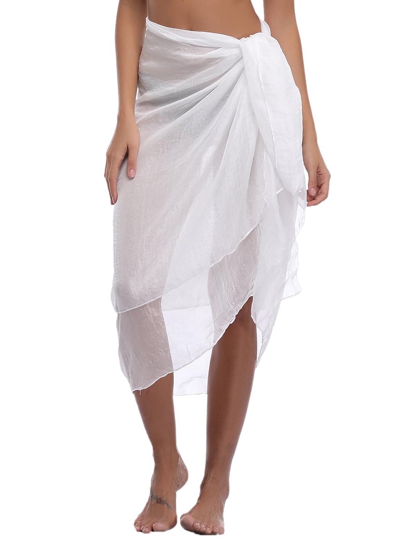 iClosam 2018 Chiffon Beach Pareo Sarong Bikini Cover Ups Scarves & Wraps Summer Holidays Beach Skirt Dress, Multifunction,Transparent AMN00083_B