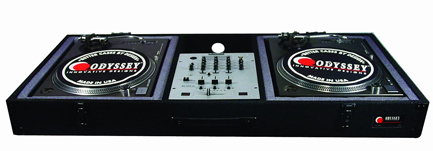 Odyssey CBM10E Carpeted Dj Coffin for A 10 Mixer and 2 Turntables in Battle Position with Surface Mount Hardware Odyssey Innovative Designs