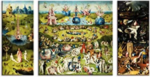 1art1 Hieronymus Bosch Stretched Canvas Print - The Garden of Earthly Delights, 1500, 3 Parts (51 x 28 inches)