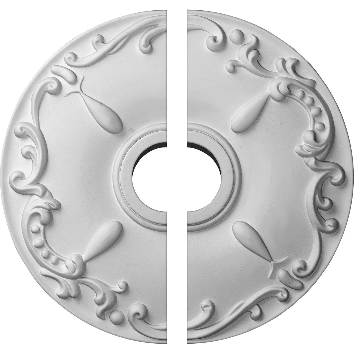 Ekena Millwork CM18KE2 18''OD x 3 1/2''ID x 1 1/4''P Kent Ceiling Medallion, Two Piece (Fits Canopies up to 5''), Factory Primed and Ready to Paint
