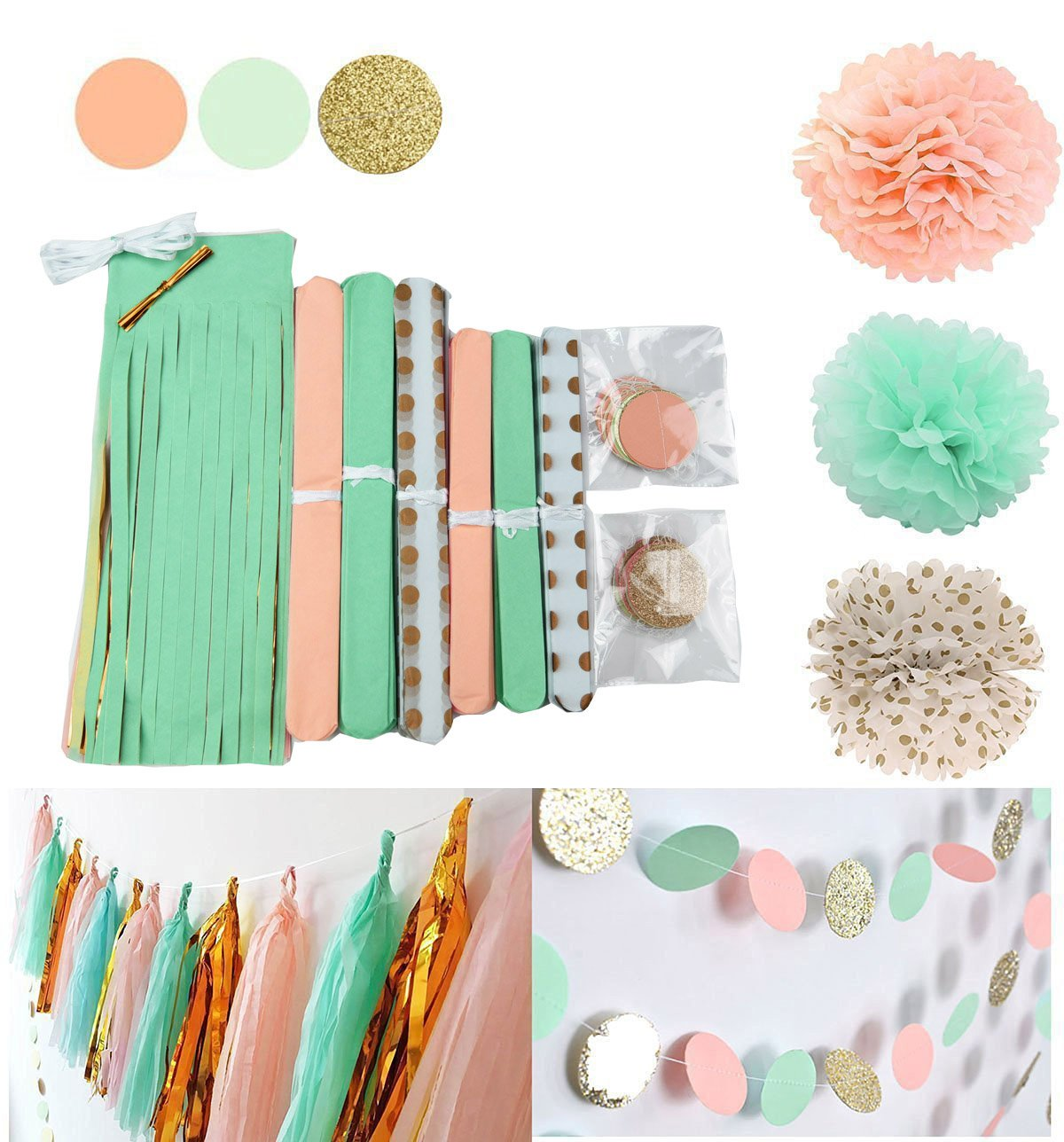 Amazon.com: Qian\'s Party Mint Peach Glitter Gold Tissue Paper Pom ...