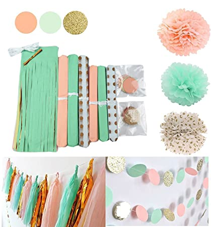 Amazon Qians Party Mint Peach Glitter Gold Tissue Paper Pom