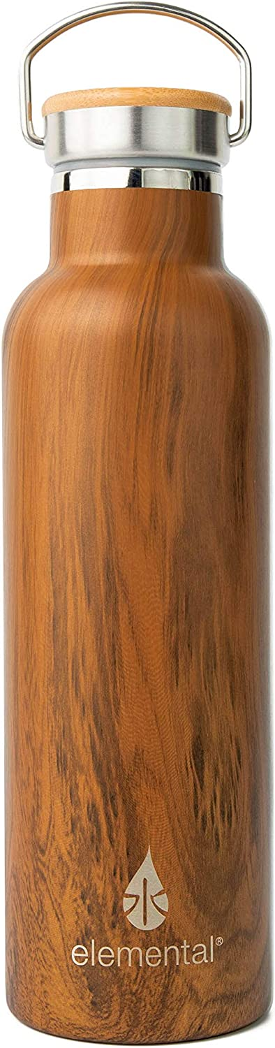 Elemental 25 oz Water Bottle 18/8 Stainless Steel Double Wall Insulation with Bamboo Lid (Teak Wood)