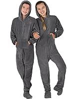 Amazon.com: Footed Pajamas - Midnite Black Kids Fleece - XSmall ...