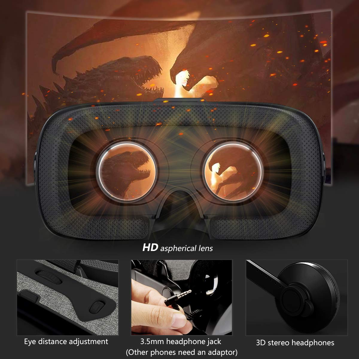 VeeR VR Falcon Headset with Controller, Universal Virtual Reality Goggles to Comfortable Watch 360 Movies for Android, Samsung Galaxy S9 & Note 9, Huawei and iPhone XR & Xs Max by VeeR (Image #2)