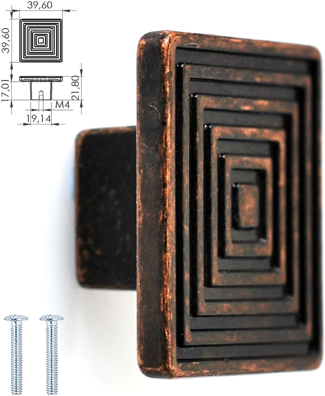 color crema 40mm para armario de cocina cobre envejecido n/íquel pulido color negro mate armario o caj/ón Cobre envejecido One Screw Hole Pomo redondo de 40 mm